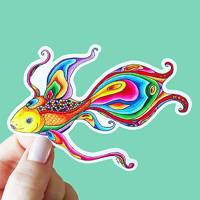 "Vinyl Sticker ""Goldfish"" Rainbow Fish Waterproof Sticker Goldfish Sticker"