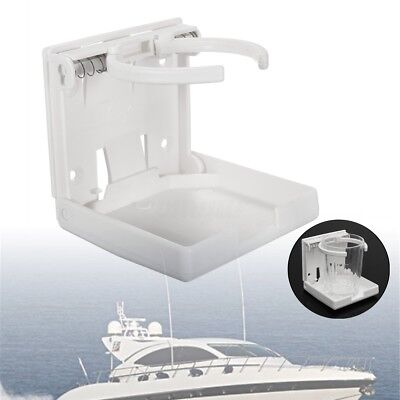 Adjustable WHITE Folding Drink Cup Holder Mount Boat Marine Caravan Car RV -UK
