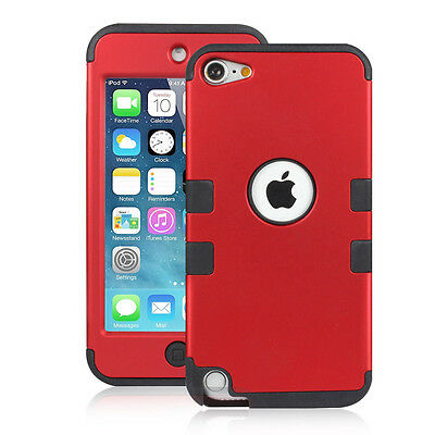 Armor Heavy Duty Red Case For iPod Touch 6 5th Gen+Lightning USB Cable+1pcs Film