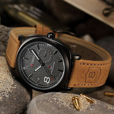 CURREN Men's Leather Strap Sport Military Army Quartz Wrist Watch Luxury New Hot