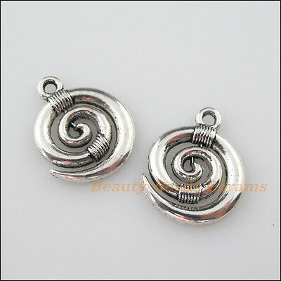 8Pcs Tibetan Silver Tone Ox Horn Winding Charms Pendants 15x18.5mm