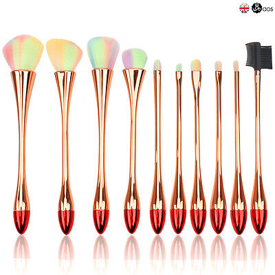 10Pcs Toothbrush Oval Makeup Brushes Set Powder Foundation Comestics Make Up Kit