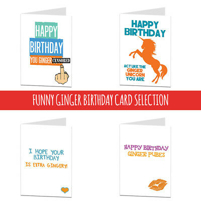 ginger happy birthday insult card rude cheeky funny humour joke