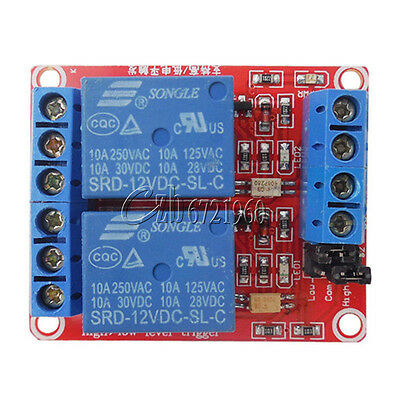 12V 2 Channel Relay Module With Optocoupler Support High Low Level Trigger