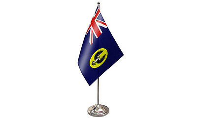 "9"" x 6"" South Australia QUALITY Satin Desktop Table Flag With Chrome Base"