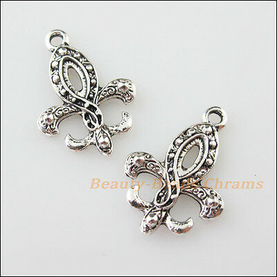"8Pcs Tibetan Silver Tone Anchor ""Fleur de lis"" Charms Pendants 17x24mm"