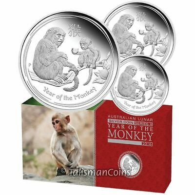 Australia 2016 Year of the Monkey Lunar Zodiac 3 Coin $1 Silver Dollar Proof Set