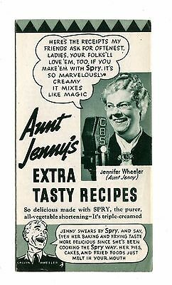 Vintage Cook Book Advertising SPRY SHORTENING Aunt Jenny SAMPLE recipes