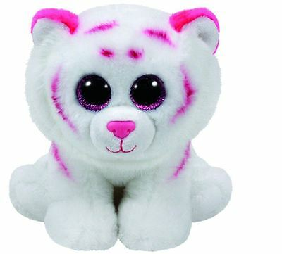 Tabor Pink & White Tiger - Ty Beanie Baby 6 inch - Ty Teddy - Brand New Soft Toy