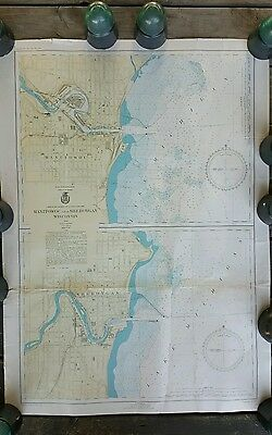 Manitowoc Sheboygan Wisconsin 1944 Polyconic Projection Chart 26x36