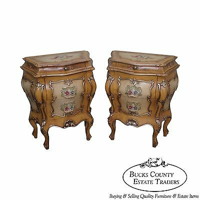 Vintage Pair of Italian Rococo Painted Bombe Commodes Chests Nightstands