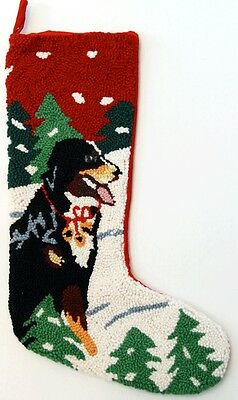 "Alpine Bernese Mountain Dog Hooked Christmas Stocking - 13"" x 21"""