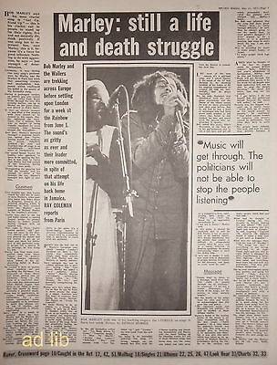 "BOB MARLEY - STILL A LIFE AND DEATH STRUGGLE - UK 16"" x 12"" NEWSPAPER ARTICLE 77"