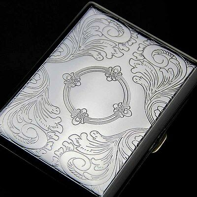 Etched Metal 20 Cigarette Case Tobacco Cigarette Holder Comtainer Box Silver
