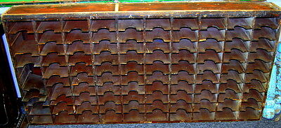 Antique 1900s Wooden Mail Slot Letter Holder Cabinet, Architectural Salvage