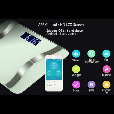 Bluetooth Smart Digital Body Weight Bathroom Fat Scale Muscles Calorie BMI Tool