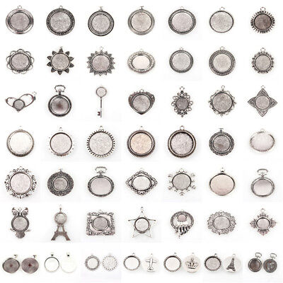 10pcs Antique Silver Alloy Flat Round Tray Pendant Blank Bezel Cabochon Settings