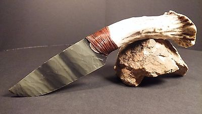 Gorgeous Green Obsidian Knife~Deer Antler~Unique Special gift~Kenny Hull~Alaska