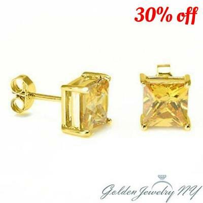 d7e565630 14K Solid Yellow Gold Princess Square Canary yellow CZ Stud Earrings Basket  .