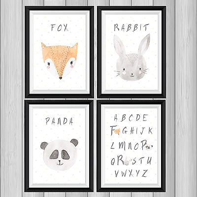 SET of 4 Cute WATERCOLOUR ANIMALS Nursery New Baby Decor picture prints 5 sizes