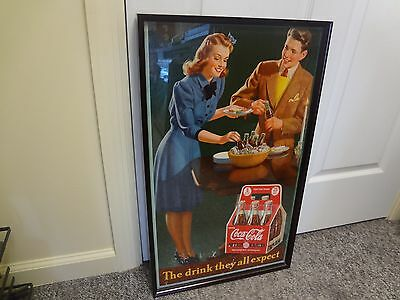 1940's Coca Cola Coke cardboard poster framed The Drink They All Expect G-778