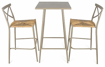 NEW Set of 3 Round Taupe Bar Table & Rattan Chairs