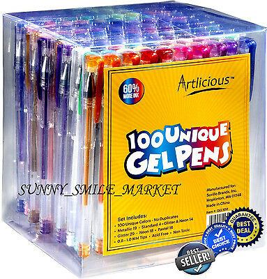 Gel Pens Set of 100 Art Coloring Book Glitter Neon Metallic Pastel Colors Ink