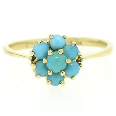 FINE Vintage 18k Yellow Gold 7 Natural Turquoise Petite Flower Cluster Ring