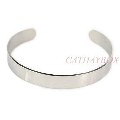 Stainless Steel Men Women Polished Solid Bracelet Blank Cuff Bangle High Quality