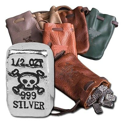 5 oz Bag Of USA Silver (10 - 1/2 oz .999 Silver Bars) In A Leather Pirate Pouch