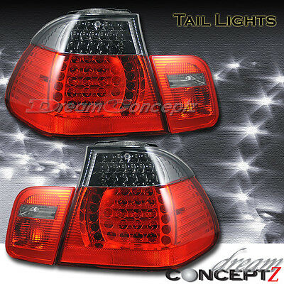 02-05 BMW E46 3 Series Sedan LED tail lights Red & Light Smoked LENS style PAIR