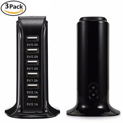 LOT Multi 6 Port USB Charger 6A Smart Stand Rapid Charging Station Travel iPhone
