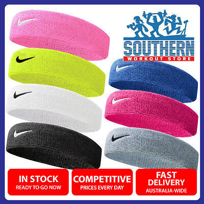 Nike Swoosh Head Sweat Band Cotton Assorted Colours Fitness Workout ONE SIZE
