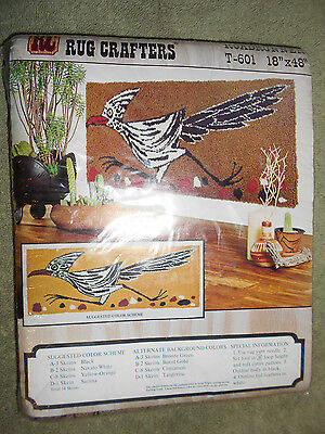 """Vintage 1970's Rug Crafters RoadRunner T-601 18"""" x 48"""" Wall Hanging Tufting Kit"""