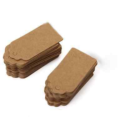 100pcs/Lot 4 X 2cm Brown Kraft Paper Hang Tags Label Party Price Gift Cards