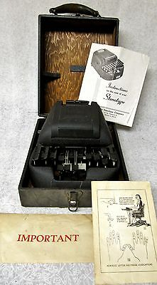 Vintage Stenograph Machine Stenotype Company Chicago + Case + Manual / Paperwork