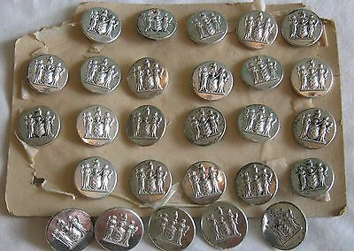 Vtg Lot 27 Silver Tone Superior Quality New Jersey State COAT OF ARMS BUTTONS