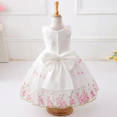 Fashion Baby Kids Girls Floral Bowknot Dress For Bridesmaid Wedding Dacing Party