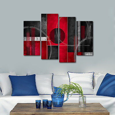 Abstract Canvas Print Home Decor Wall Art Painting Pictures Red Black Framed