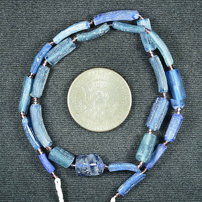 Ancient Roman Glass Fragment Beads 1 Strand Blue 100-200 Bc 0620
