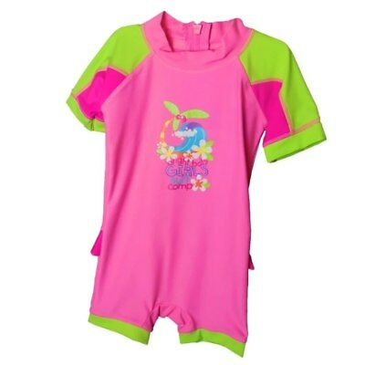 Bright Bots - Size 2 - Swimwear All In One Short Sleeve Girl - Surf Comp - Pi...