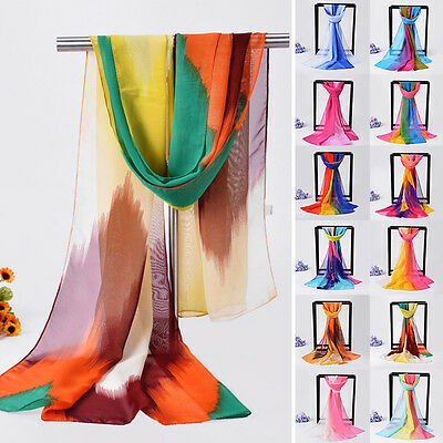 Women Ladies Chiffon Mixed Color Long Neck Silk Scarf Scarves Shawl Stole Wrap