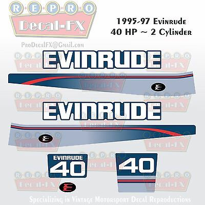 1966 Evinrude 40 HP Outboard Reproduction 6Pc Marine Vinyl Decal 40602 40662-63
