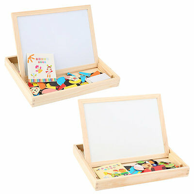Baby Kids Toy Wooden Drawing Writing Board Magnetic Puzzle Double Easel AU