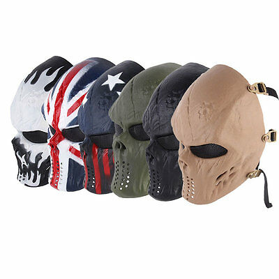 Paintball Impact Resistant Skeleton Halloween Military CS Mask Tactical AU