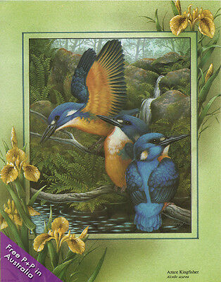 NEW Blue Kingfishers  by Shirley Barber : Paper Tole Kits
