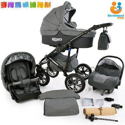 Modern Baby Pram Pushchair Stroller Buggy CAR SEAT SWIVEL WHEELS 12 Colors