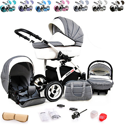 Baby Pram Stroller Pushchair 3in1 Car Seat Carrycot Travel System Buggy LED LAMP