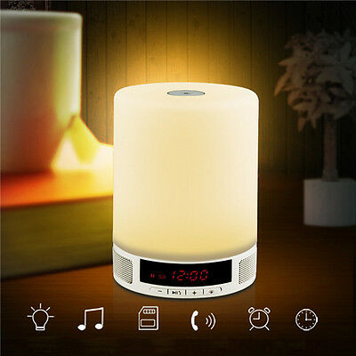 Table Lamp Wireless Bluetooth Speaker Music Sound Box with Alarm Clock Function