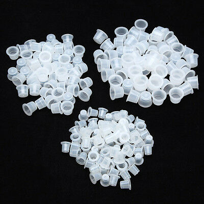100pcs Plastic Tattoo Ink Cups Caps Holders Supplies 3 Size
